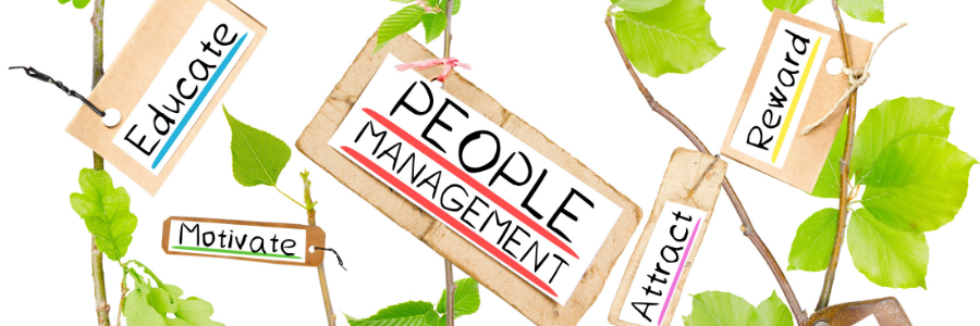 image showing various ttles including 'people management, 'attract'